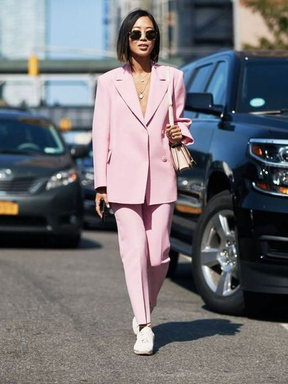 pink suit sneakers look
