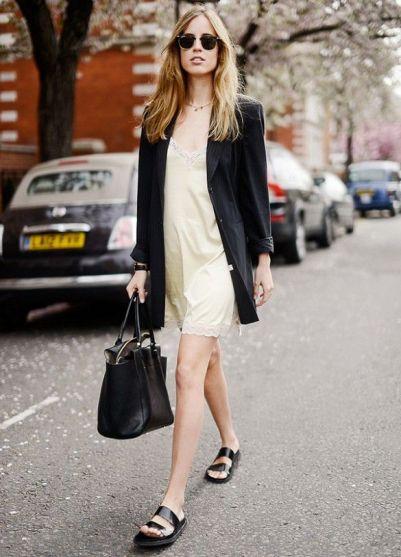 vestidom blazer sandalia plana